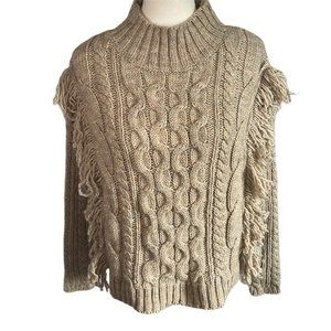 Universal Thread Tan Cable Knit Fringe Sweater